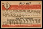 1953 Bowman #14  Billy Loes  Back Thumbnail