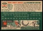 1954 Topps #187  Heinie Manush  Back Thumbnail