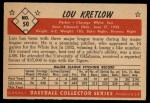 1953 Bowman #50  Lou Kretlow  Back Thumbnail