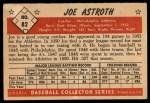 1953 Bowman #82  Joe Astroth  Back Thumbnail