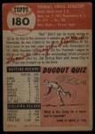 1953 Topps #180  Virgil Stallcup  Back Thumbnail