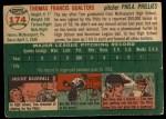 1954 Topps #174  Tom Qualters  Back Thumbnail