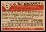 1953 Bowman #101  Red Schoendienst  Back Thumbnail