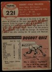 1953 Topps #221  Bob Milliken  Back Thumbnail