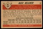 1953 Bowman #107  Alex Kellner  Back Thumbnail