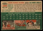 1954 Topps #156  Joe Coleman  Back Thumbnail