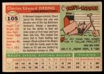 1955 Topps #105  Chuck Diering  Back Thumbnail