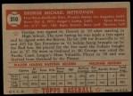 1952 Topps #310  George Metkovich  Back Thumbnail