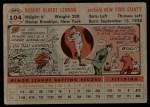 1956 Topps #104 GRY Bob Lennon  Back Thumbnail