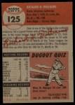 1953 Topps #125  Dick Williams  Back Thumbnail