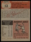 1953 Topps #13  Connie Marrero  Back Thumbnail