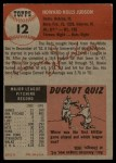 1953 Topps #12  Howie Judson  Back Thumbnail