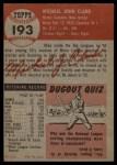 1953 Topps #193  Mike Clark  Back Thumbnail