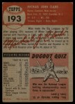 1953 Topps #193  Mike Clark  Back Thumbnail