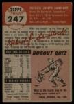 1953 Topps #247  Mike Sandlock  Back Thumbnail