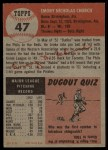 1953 Topps #47  Bubba Church  Back Thumbnail