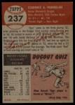 1953 Topps #237  Clarence 'Bud' Podbielan  Back Thumbnail