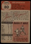 1953 Topps #80  Jim Hegan  Back Thumbnail