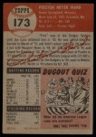 1953 Topps #173  Preston Ward  Back Thumbnail