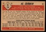 1953 Bowman #126  Al Corwin  Back Thumbnail