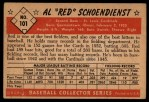 1953 Bowman #101  Red Schoendienst  Back Thumbnail