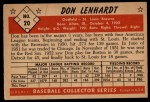 1953 Bowman #20  Don Lenhardt  Back Thumbnail
