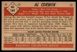 1953 Bowman #149  Al Corwin  Back Thumbnail