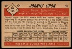 1953 Bowman #123  John Lipon  Back Thumbnail