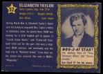 1953 Topps Who-Z-At Star #52  Elizabeth Taylor  Back Thumbnail