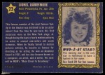 1953 Topps Who-Z-At Star #23  Lionel Barrymore  Back Thumbnail