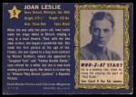 1953 Topps Who-Z-At Star #5  Joan Leslie  Back Thumbnail
