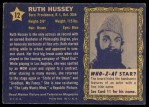 1953 Topps Who-Z-At Star #12  Ruth Hussey  Back Thumbnail