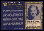 1953 Topps Who-Z-At Star #37  Gene Kelly  Back Thumbnail