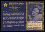1953 Topps Who-Z-At Star #41  Marge and Gower Champion  Back Thumbnail