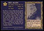 1953 Topps Who-Z-At Star #2  Rex Allen  Back Thumbnail