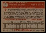 1952 Topps #52 RED Don Mueller  Back Thumbnail