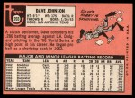 1969 Topps #203  Davey Johnson  Back Thumbnail