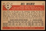 1953 Bowman Black and White #24  Del Wilber  Back Thumbnail