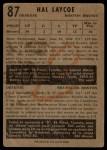 1953 Parkhurst #87  Hal Laycoe  Back Thumbnail