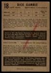 1953 Parkhurst #18  Dick Gamble  Back Thumbnail