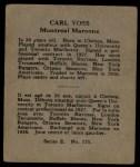 1937 O-Pee-Chee #175  Carl Voss  Back Thumbnail
