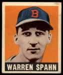 1949 Leaf #32  Warren Spahn  Front Thumbnail