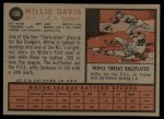 1962 Topps #108  Willie Davis  Back Thumbnail