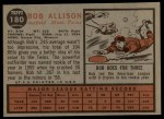 1962 Topps #180 A Bob Allison  Back Thumbnail