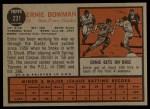 1962 Topps #231  Ernie Bowman  Back Thumbnail