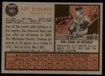 1962 Topps #483  Don McMahon  Back Thumbnail