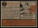 1962 Topps #533  Charley Lau  Back Thumbnail