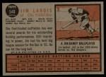 1962 Topps #540  Jim Landis  Back Thumbnail