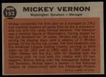 1962 Topps #152 NRM Mickey Vernon  Back Thumbnail