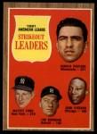 1962 Topps #59   -  Whitey Ford / Jim Bunning / Camilo Pascual /  Juan Pizarro AL Strikeout Leaders Front Thumbnail